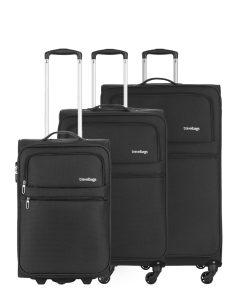 Travelbags Lissabon Kofferset - 3 delig - 55 cm 2 wiel + 67 cm 4 wiel + 77 cm 4 wiel - black
